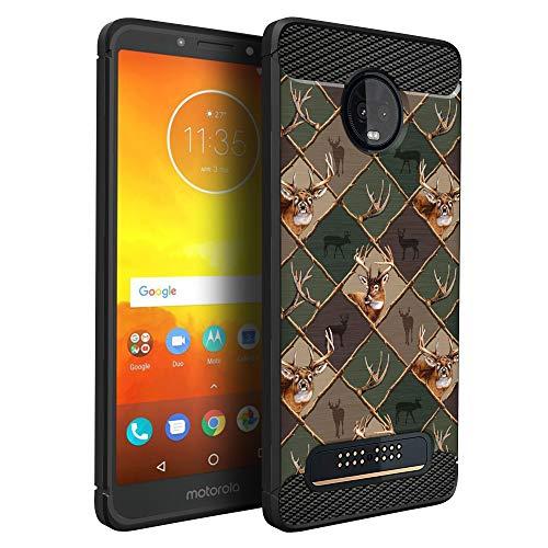 (CasesOnDeck Case Compatible with [Motorola Moto Z3 Play   Moto Z3] Moto Z3 Design Case, Slim Black Flexible Sleek Shock Protection TPU Case (Deer Emblem Pattern))