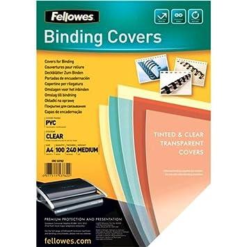 Fellowes cubiertas de encuadernación 240 g/m², tamaño DIN A4, transparente Extra 53762 - Pack 100 113810: Amazon.es: Oficina y papelería