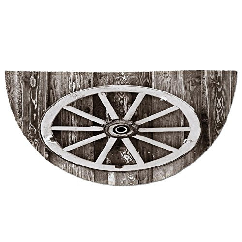 Half Wagon - Half Round Door Mat Entrance Rug Floor Mats,Barn Wood Wagon Wheel,Retro Wheel on Timber Wall Barn House Village Cart Circle Decorative,Dark Brown and White,Garage Entry Carpet Decor for House Patio Gr