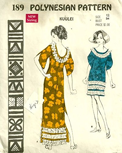 Polynesian Pattern 189 Vintage Hawaiian Luau Dress, Vintage 1970's Sewing Pattern