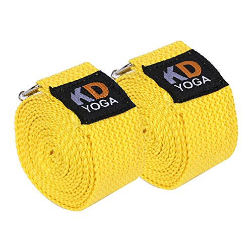 KD Yoga Fitness Exercise Strap Pack of 2 Yellow Rectengular-Ring 8ft for Stretching, Dance, Pilates and Physical Therapy Adjustable Buckle D Ring Buckle Yoga Belt Durable Cotton Exercise Straps