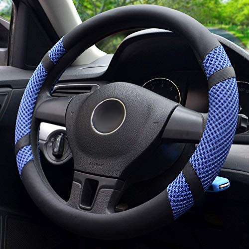 BOKIN Steering Wheel Cover Microfiber Leather and Viscose, Breathable, Anti-Slip, Odorless, Warm in Winter and Cool in Summer, Universal 15 Inches (Blue) (Wheel Steering Chevy Cruze)