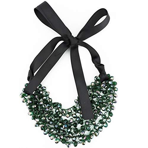 (Firstmeet FIRSTMET Handmade Ribbon Bow Glass Beaded Collar Necklace for Women (XL-1042-green))
