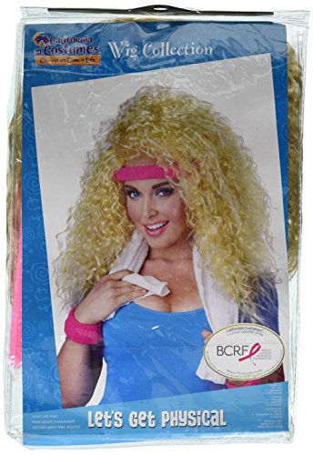 Big Hair Band Costumes (California Costumes Women's Let's Get Physical Wig Headband and Sweat Band 80's Aerobics Dance Set, Blonde, One Size)