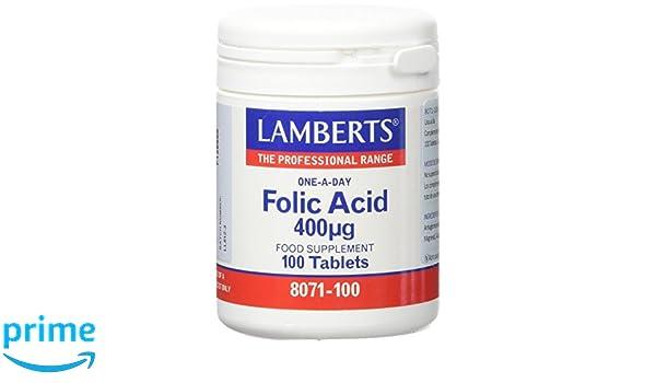 Lamberts Acido Fólico 400ug - 100 Tabletas: Amazon.es: Salud y cuidado personal