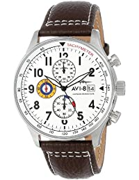 """Men's AV-4011-01 """"Hawker Hurricane"""" Stainless Steel Watch with Leather Band"""