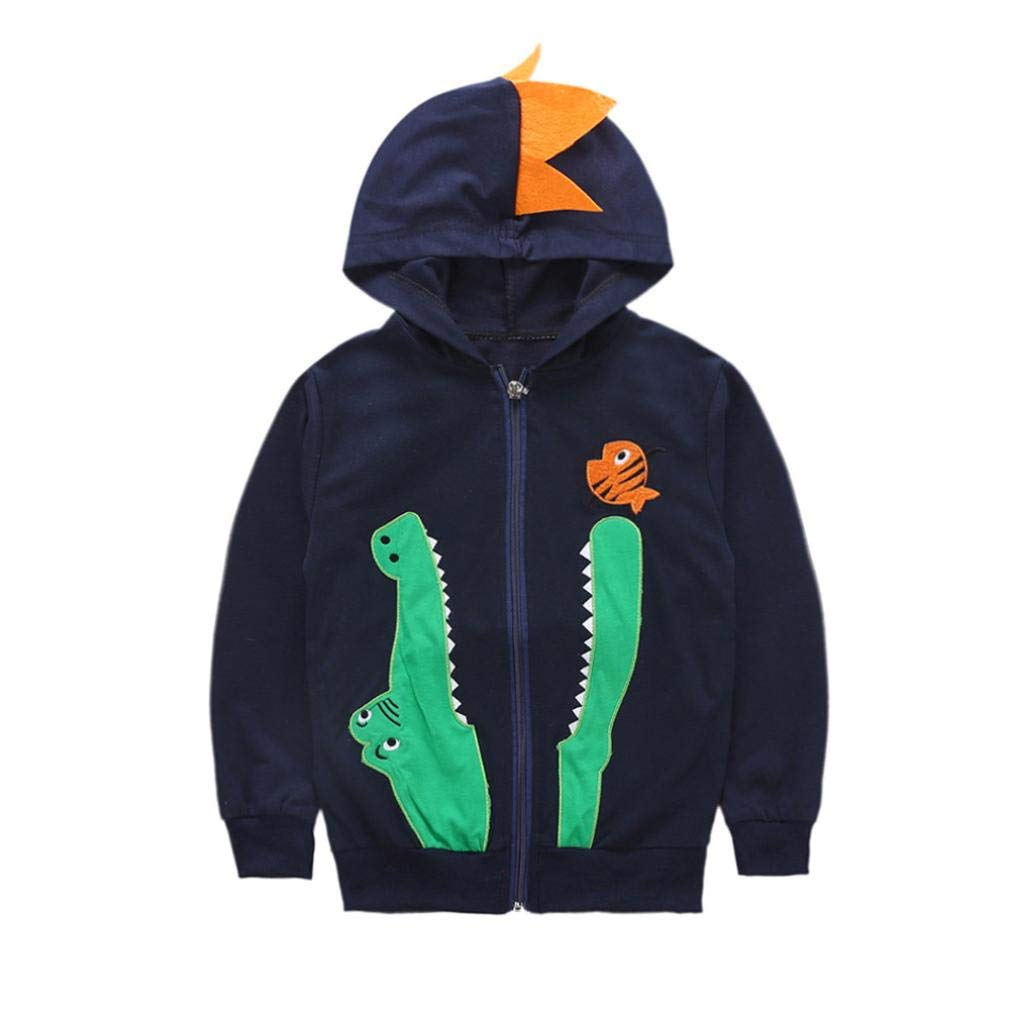 Little Boy Autumn Coat,Jchen(TM) Clearance! Infant Kids Baby Boys Girls Cartoon Embroidery Hooded Coat Outwear Jacket for 2-7 Y (Age: 4 Years Old, Navy)