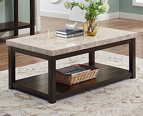 Veneer Rectangular Cocktail Table - Kelia Rectangular Coffee Table w/Marble Veneer Top by Crown Mark