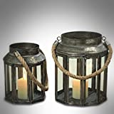 The Mariner's Candle Lanterns, Set of 2, Glass Panel, Aged Galvanized Metal, Nautical Rope Handles, Top Opening, Swing Latch, 10 Sided - 9 3/4 and 8 Sided - 6 1/4 Inches Tall, By Whole House Worlds