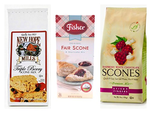 Premium Scone Mix 3-Flavor Variety Bundle: (1) Sticky Fingers Raspberry White Chocolate Scone Mix, (1) Fisher Original Fair Scone & Shortcake Mix, and (1) New Hope Mills Triple Berry Scone Mix, 16 Ounces Each (3 Total)