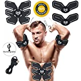 Abs Stimulator Rechargeable Muscle Trainer Ultimate Abs Stimulator Ab Stimulator Men Women Abdominal Work Out Ads Power Fitness Abs Muscle Training Gear ABS Workout Equipment Portable USB Charger