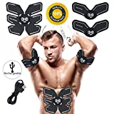 Abs Stimulator Rechargeable Muscle Trainer Ultimate Abs Stimulator Ab Stimulator for Men Women Abdominal Work Out Ads Power Fitness Abs Muscle Training Gear ABS Workout USB Charger (Black-Charger)