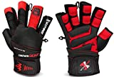 Crown Gear Weightlifting Gloves for Gym Fitness Crossfit Bodybuilding - Workout Weight Lifting Gloves for Men & Women - DOMINATOR X Leather Crossfit Training Gloves w. Wrist Support Wraps