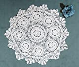 Hand Crocheted Cotton Large  36 inch Round White Doily
