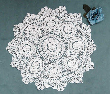 Hand Crocheted Cotton Large  36 inch Round White Doily by Factory Direct Craft