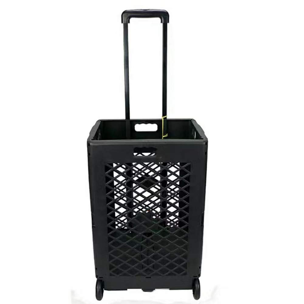 ZHAOHUI ショッピングカート 折りたたみ可能 エンジニアリングプラスチック 老人 ゴム製の車輪 耐摩耗性、 負荷25キロ、 2色展開 (色 : 黒) B07JMCBZHD 黒