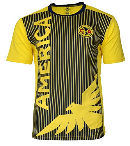 Mexico Training Jersey - Club America Soccer Jersey Mexico FMF Adult Training Aguilas del America (Yellow, l)