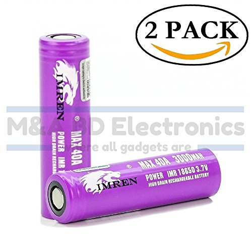 He4 Series (IMREN Purple Series IMR 18650 High Drain 3000mAh Li-ion Max 40A 3.7V Rechargeable Flat Top Battery, (2 Pack With Hard PC Protection Case) by M&A BD Electronics)
