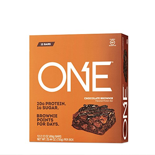 ONE Protein Bar, Chocolate Brownie, 2.12 oz. (12 Pack), Gluten-Free Protein Bar with High Protein (20g) and Low Sugar (1g), Guilt Free Snacking for Healthy - Protein Chocolate Brownie Bar