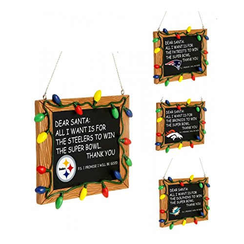 NFL Football Team Resin Chalkboard Sign Christmas Tree Ornament - Pick Your Team