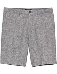 Mens Aiden-Fit Linen Blend Grey Texture Shorts