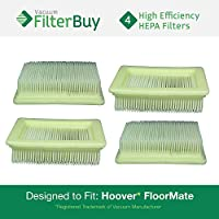 4 - FilterBuy Hoover FloorMate Compatible HEPA Filters, Part # 40112050. Designed by FilterBuy to fit All Hoover FloorMate Upright Vacuum Cleaners