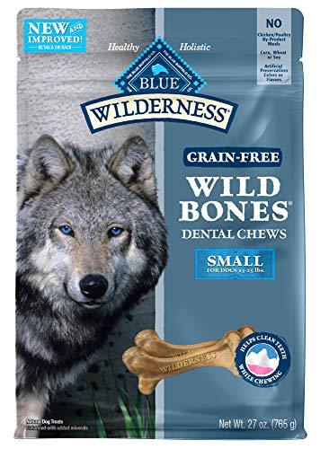 (Blue Buffalo Wilderness Wild Bones Grain Free Dental Chews Dog Treats, Small 27-oz bag)
