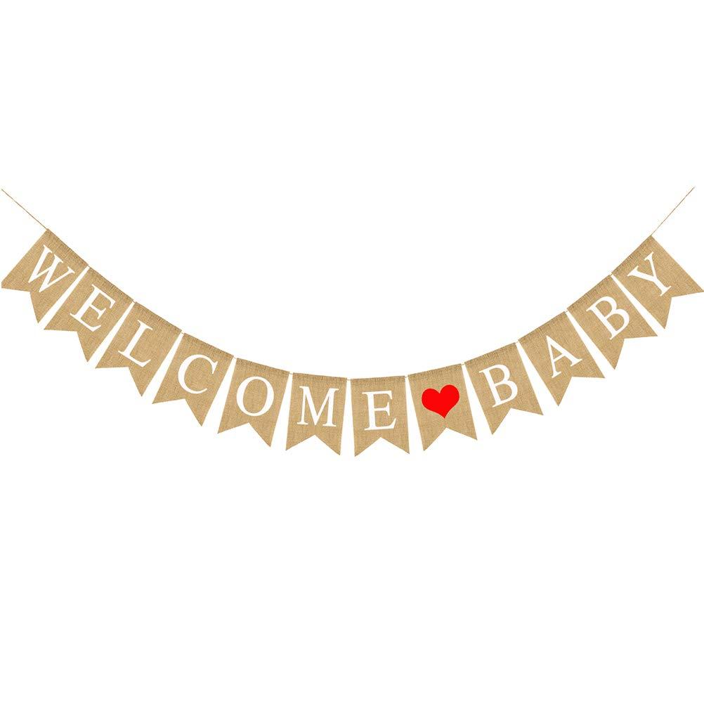 BESTOYARD Welcome 赤ちゃん用文字バンティングバナー ラブパターン 装飾 ビンテージ ラスティック リネン 黄麻布 ウォールバナー ホームパーティー 披露宴 ベビーシャワー   B07GFV6CGC