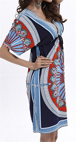 V Cruiize Sleep Dress Deep Print Blue Neck Sleeve Womens Ethnic Backless Batwing Black wqIRqf1