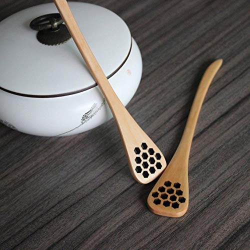 Cute Ionic Natural Wood Creative Carving Honey Stirring Spoons Carved Mixing Dipper Flatware - Spoon Carving Wood ()