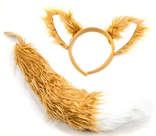 Fox Headband Ears and Tail Set - One Size - Costume Accessory