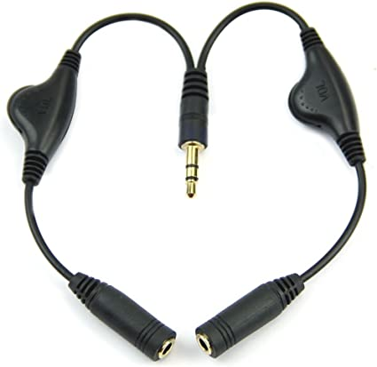 Headset Audio Splitter with Separate Volume Controls 3.5mm Stereo Headphone