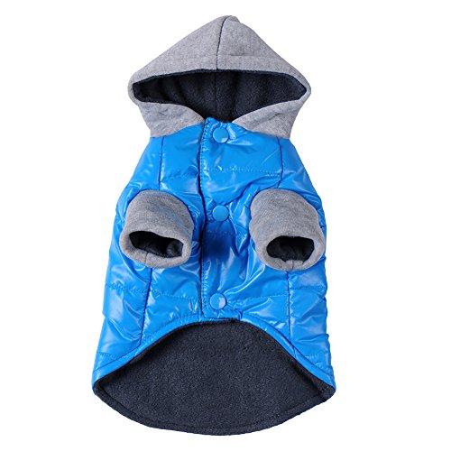 Awhao-Pet-Vetements-pour-chien-a-capuche-Vetements-dhiver-bleu-chaud-rembourre-Coat-Outwear
