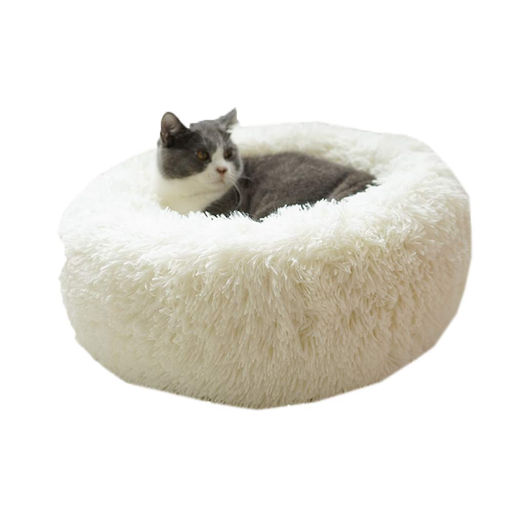 Milky white S Milky white S Deep Sleep Cat Bed House Pet Cat Winter Warm Sleeping Bag Plush Cat Bed Cave (S, Milky White)
