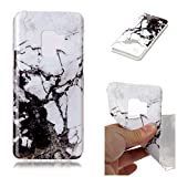 Misteem Back Cover for Samsung Galaxy S9 Plus Shell Colorful [Black White Marble] Pattern Retro Stylish Case Flexible Silicone Soft Rubber Shockproof Cute Print Cover Protective