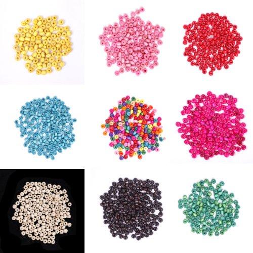 ILOVEDIY 1000pcs in Bulk Loose Wood Seed Beads for Jewelry Making 4x3mm