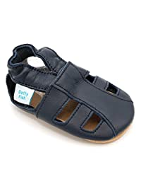 Soft Leather Baby Sandal Shoes with Suede Soles by Dotty Fish - Boys and Girls - Navy - 0-6 Months to 3-4 Years