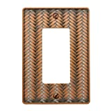 AmerTac 89RAC Weave Cast Metal Single Rocker-GFCI Wallplate, Antique Copper