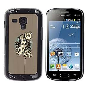 // PHONE CASE GIFT // Duro Estuche protector PC Cáscara Plástico Carcasa Funda Hard Protective Case for Samsung Galaxy S Duos S7562 / Mujer floral /