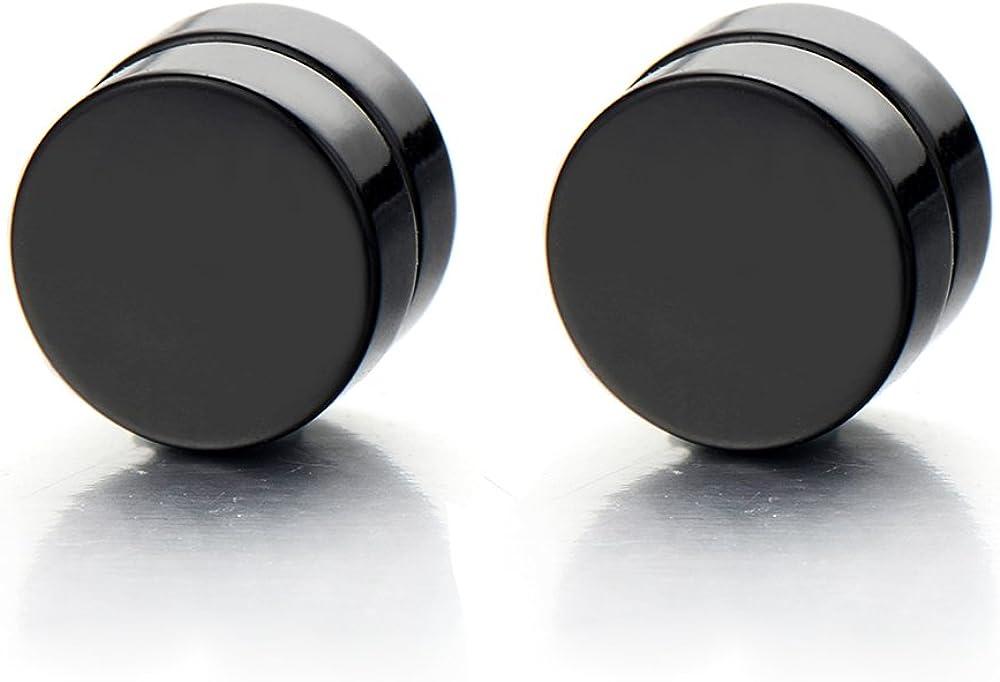 2pcs Magnetic Black Circle Stud Earrings for Men Women, Non-Piercing Clip On Cheater Fake Ear Gauges