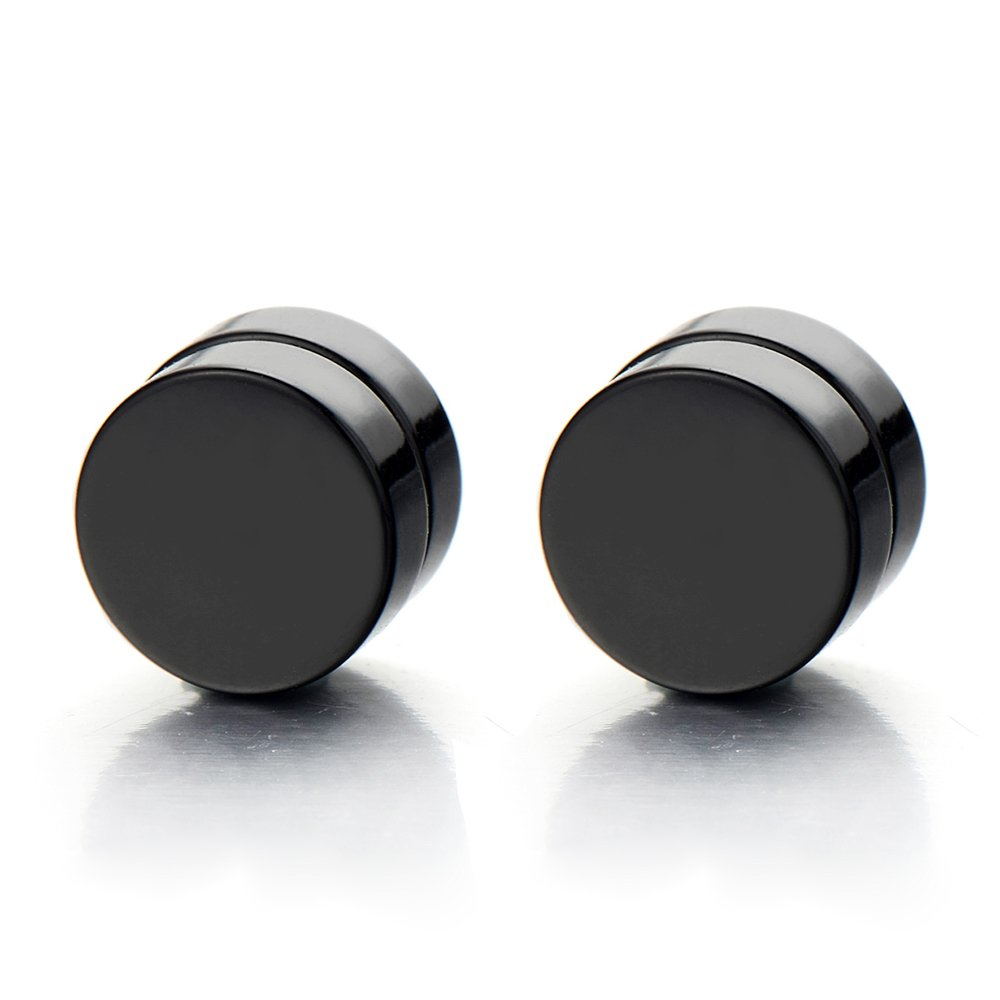 2pcs Magnetic Black Circle Stud Earrings for Men Women, Non-Piercing Clip On Cheater Fake Ear Gauges COOLSTEELANDBEYOND ME-384