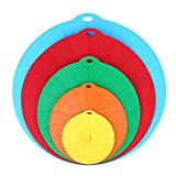 Toweter Reusable Universal Kitchen Silicone Suction Lids, Covers for Pots, Pans, Bowls and Plates, Microwave Safe (5)