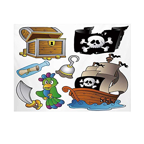 Pirate Photography Background,Pirate Themed Collection Treasure Chest Jolly Roger Flag Ship Cutlass Parrot Cartoon Backdrop for Studio,15x10ft