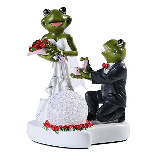 Unique Frogs (Giftgarden Unique LED Light up Funny Couple Frog Wedding Marriage Proposal Figurine Decoration Personalized Fiance Propose Engagement)