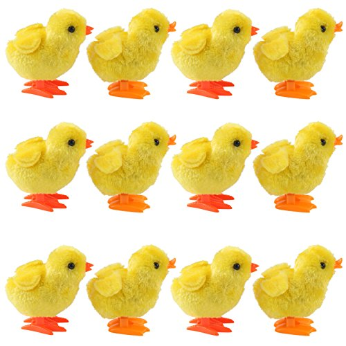 Liberty Imports 1 Dozen Wind-Up Kids Toys | Jumping Chicken Ducklings Bulk Wind Up Novelty Party Favors - Pack of 12 (Chickens)