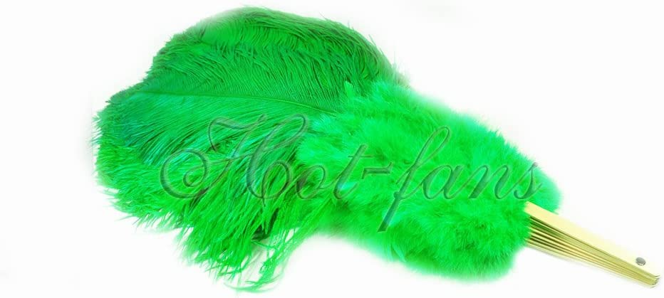 Black Hot-fans Marabou and Ostrich Feather Fan 27x 53