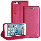 DMG Lishen Premium Luxury PU Leather Flip Cover Wallet Case For Apple iPhone 6 6S 4.7in ( Magenta )