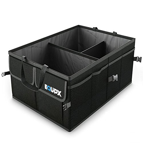 Equipx Premium Quality Auto Trunk Organizer For Car, SUV, Truck - Durable Collapsible Cargo Storage - Non Slip Bottom Strips to Prevent Sliding Foldable with waterproof cover
