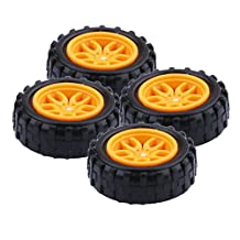 Yeeco 4Pcs Plastic Toy Car Tire Wheel, Mini Φ2*18mm Smart RC Car Robot Tyres Model Gear Parts