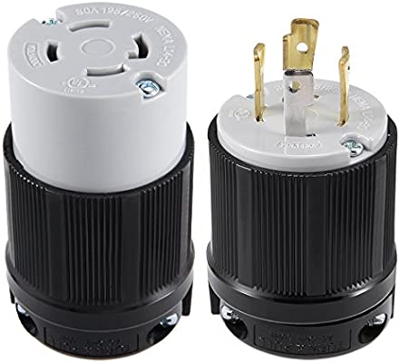 for Generator Power Cable AC 250V 30A uxcell UL Listed 3P Grouding NEMA L15-30C US Plug 4W Locking Connector Industrial Grade YUADON Authorized